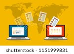 file transfer. two laptops with ... | Shutterstock .eps vector #1151999831