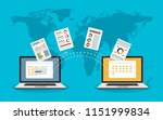 file transfer. two laptops with ... | Shutterstock .eps vector #1151999834