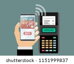 hand with smartphone near pos... | Shutterstock .eps vector #1151999837