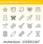 needlework thin line icon set.... | Shutterstock .eps vector #1152011267