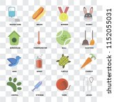 set of 16 icons such as leash ... | Shutterstock .eps vector #1152055031