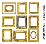 the antique gold frame on the... | Shutterstock . vector #115206001
