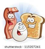 bacon  egg and toast cartoon... | Shutterstock .eps vector #115207261