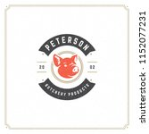 butcher shop logo vector... | Shutterstock .eps vector #1152077231