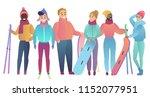 Group Of Cute Cartoon Skiers...