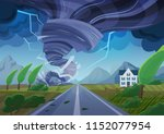 twisting tornado over road... | Shutterstock .eps vector #1152077954