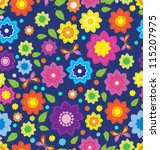 Floral seamless color pattern with flowers and butterfly, pattern for your design - stock photo