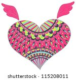 Ornament heart shape for your design,Valentine color background with heart, vector - stock vector