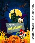 happy halloween greeting card... | Shutterstock .eps vector #1152092987