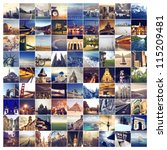 many photos of many places... | Shutterstock . vector #115209481