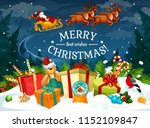 christmas gift and santa sleigh ... | Shutterstock .eps vector #1152109847