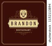 restaurant logo template vector ... | Shutterstock .eps vector #1152113894