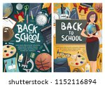back to school banners with... | Shutterstock .eps vector #1152116894