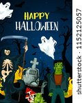 happy halloween greeting card... | Shutterstock .eps vector #1152125057