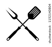 bbq or grill tools icon in flat ... | Shutterstock .eps vector #1152140804