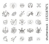 rock and roll line icon set | Shutterstock .eps vector #1152187871