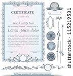 blue vertical certificate... | Shutterstock .eps vector #115219531