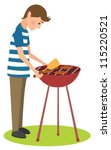 man cooks barbecue | Shutterstock . vector #115220521