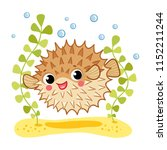 blowfish isolated on white... | Shutterstock .eps vector #1152211244