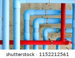 Blue Fire Water Pipes On The...