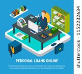 loans isometric background with ... | Shutterstock .eps vector #1152232634