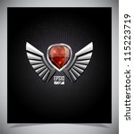 metal shield emblem with wings. ... | Shutterstock .eps vector #115223719