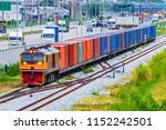 container freight train with... | Shutterstock . vector #1152242501