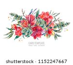 watercolor floral template card ... | Shutterstock . vector #1152247667