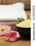 bath towel salt and aromatic candles - stock photo