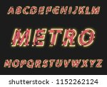 neon uppercase slanted alphabet ... | Shutterstock .eps vector #1152262124