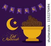 eid mubarak card with moon and... | Shutterstock .eps vector #1152270494
