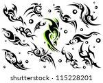 set of 12 tribal tattoo  set 3  | Shutterstock .eps vector #115228201