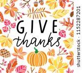 give thanks hand drawn vector... | Shutterstock .eps vector #1152287201