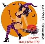 sexy witch flying on a broom ... | Shutterstock .eps vector #115229545