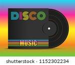 realistic 3d black vinyl music... | Shutterstock .eps vector #1152302234
