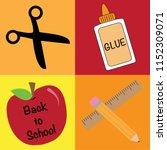 back to school supplies | Shutterstock .eps vector #1152309071
