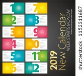 new desk calendar 2019 week... | Shutterstock .eps vector #1152311687