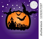 a creepy pumpkin with different ... | Shutterstock .eps vector #1152317237
