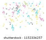 music notes flying chaos vector ... | Shutterstock .eps vector #1152336257