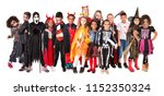 group of kids in halloween... | Shutterstock . vector #1152350324