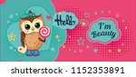 cute funny sweet owl on... | Shutterstock .eps vector #1152353891
