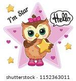 cute funny owl on white... | Shutterstock .eps vector #1152363011