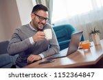 young attractive freelancer... | Shutterstock . vector #1152364847
