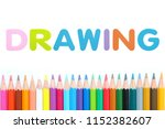 colored pencils row with... | Shutterstock . vector #1152382607