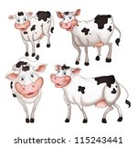 illustration of four cows on a... | Shutterstock .eps vector #115243441