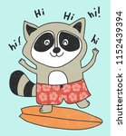 cute raccoon surfing vector... | Shutterstock .eps vector #1152439394