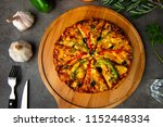 italian pizza with rustic... | Shutterstock . vector #1152448334