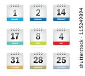 holiday calendar set | Shutterstock .eps vector #115249894