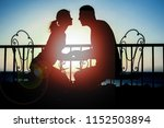 beautiful couple silhouette on... | Shutterstock . vector #1152503894