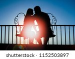 beautiful couple silhouette on... | Shutterstock . vector #1152503897